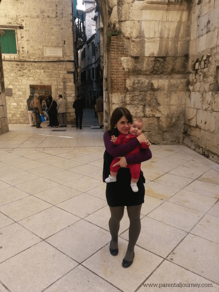 In front of Diocletians Palace in Split-Parental Journey