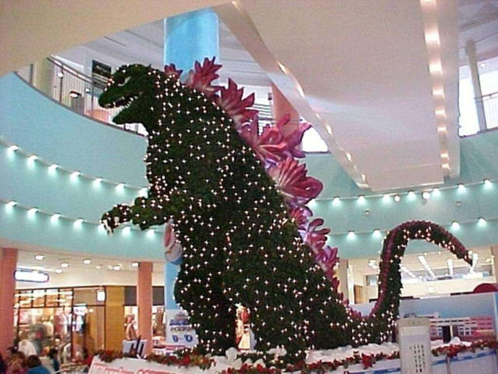 christmas in japan godzilla tree kids are a trip