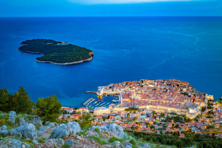 View of Dubrovnik and Lokrum Island from top of Mt Srd