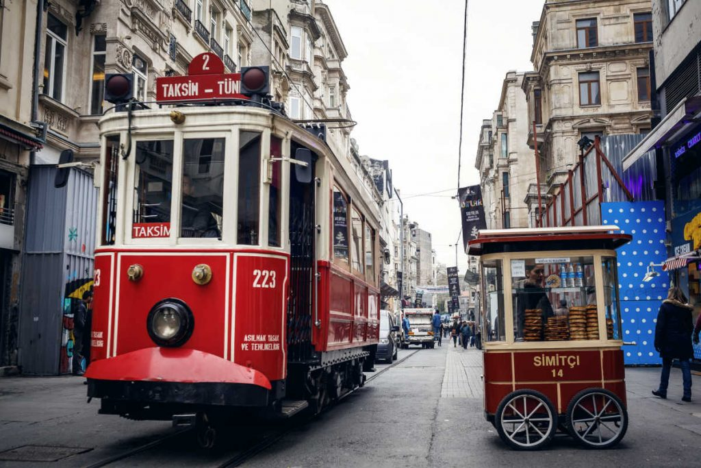 Istiklal street and tram Istanbul