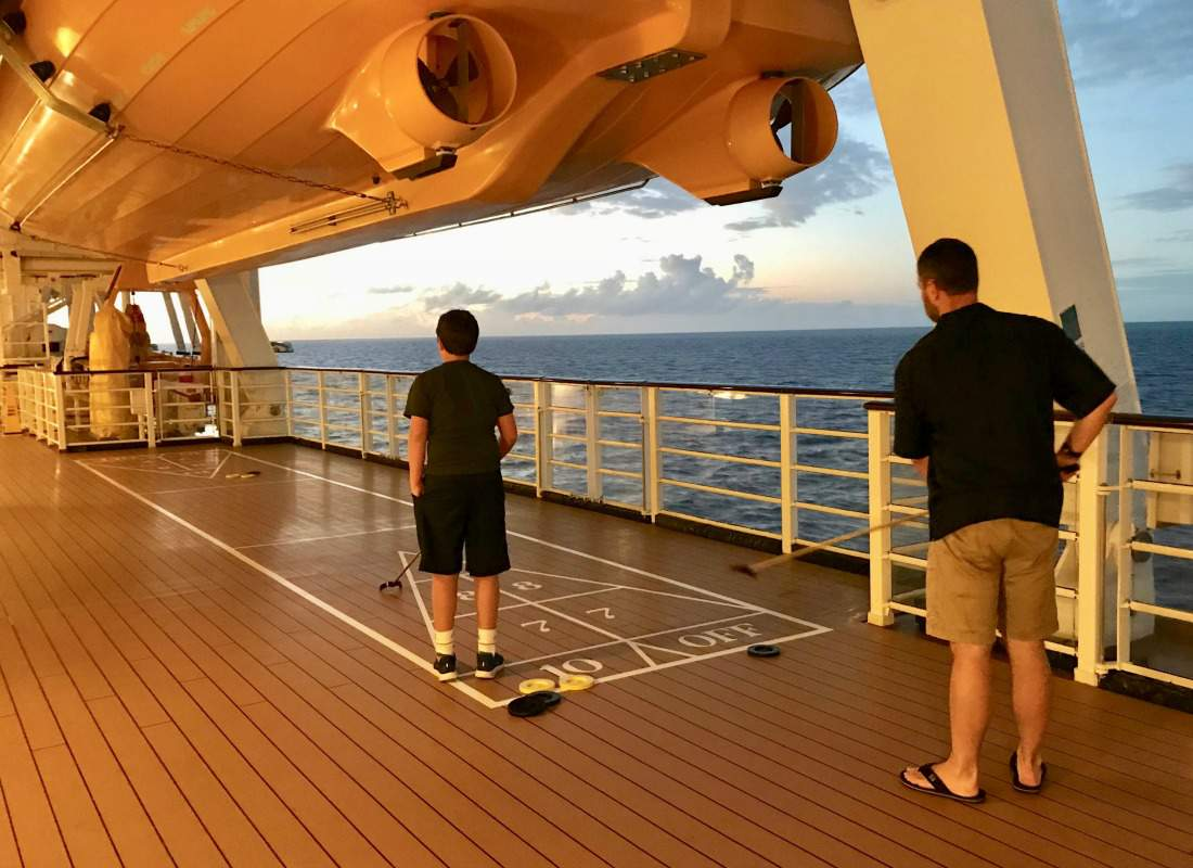 Disney Cruise with Teens Shuffleboard-Kids Are A Trip