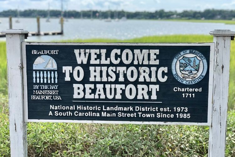 A welcome greeting to Beaufort; our Beaufort tips include spending time on the waterfront near the marina.