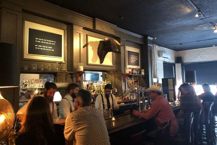 The Old Bull Tavern in Beaufort serves up puns on the wall alongside a stuffed bull.