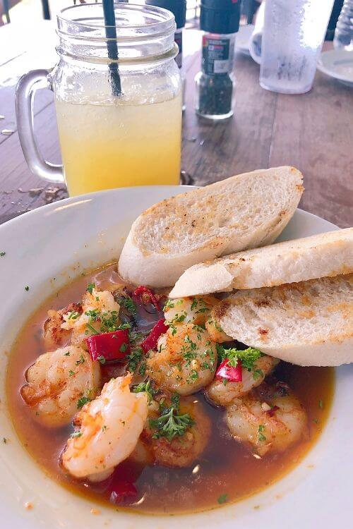 Port Royal eatery Fishcamp on 11th Street with its Pil Pil Shrimp dish.