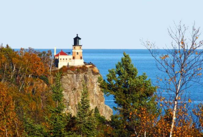 Split Rock Lighthouse Minnesota bluff fall trees-Kids Are A Trip.jpg