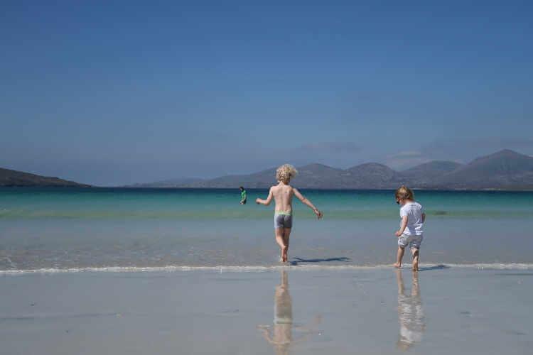 Outer Hebrides Scotland children on beach