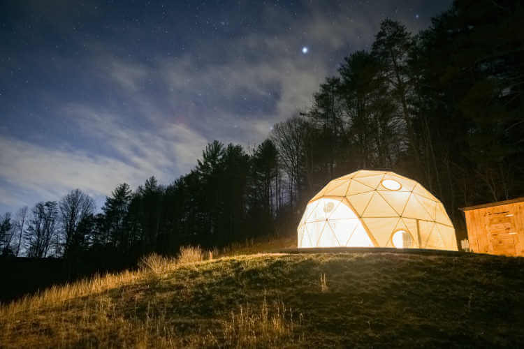 Asheville North Carolina Glamping nightdome