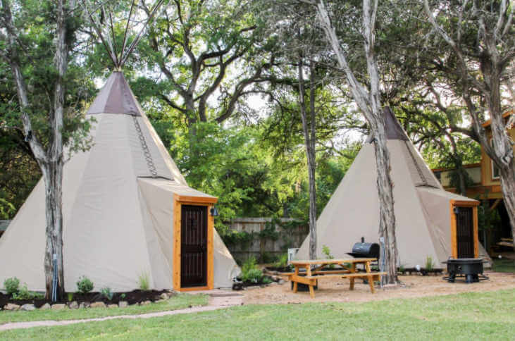Tipis on the Guadalupe River Glamping