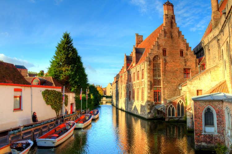 Bruges Belgium canals autumn